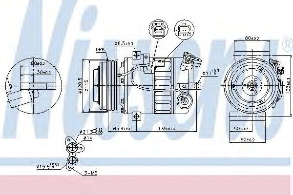 NS89394_компрессор кондиционера!\ Nissan X-Trail 2.0i 07>, Renault Laguna 2.0i 07>