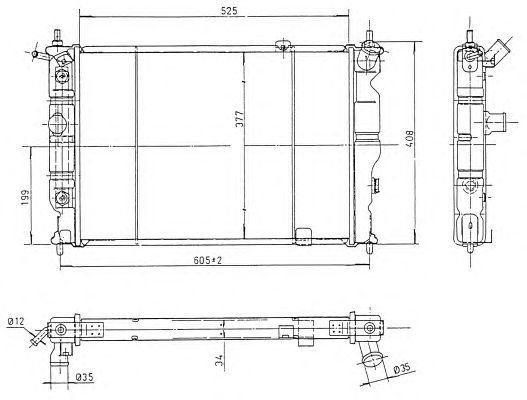 NRF 514647_радиатор системы охлаждения! АКПП\ Opel Astra 1.6i-2.0i 91>