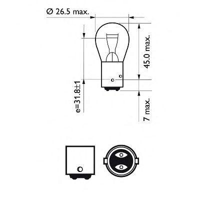 "Лампа подсветки P21/4W 12V 21/4W ""PHILIPS"" (2-х нитьевая, со смещенным центром, блистер) (2 шт.)"